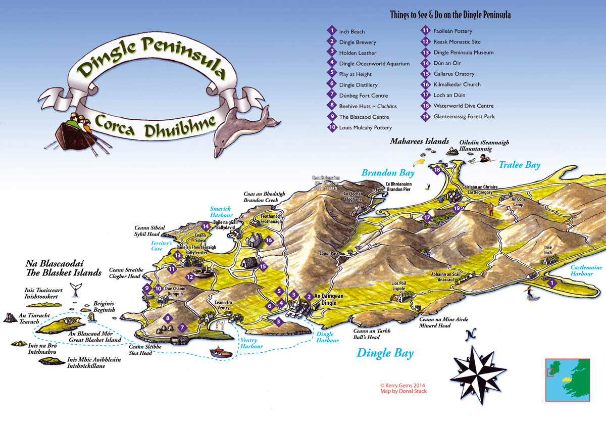 Kerry Gems dingle-peninsula-map - Kerry Gems on